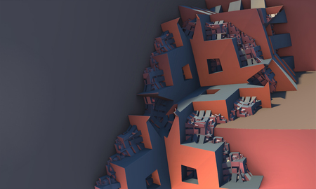digital art: 3d illustration of abstract geometric composition ,digital art works.
