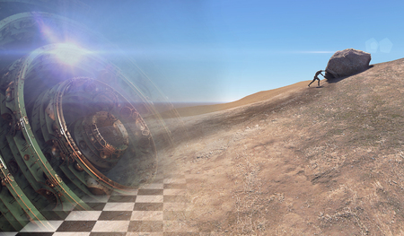 upward struggle: hard work.The person rolls the rock on mountainn the future