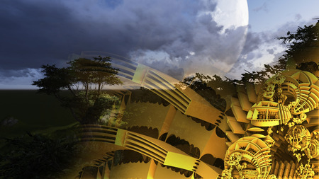 futuristic nature: 3d illustration of abstract geometric composition ,digital art works.