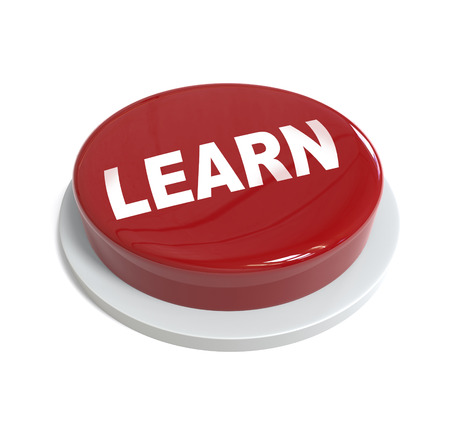 it is isolated: 3d rendering of a red button with learn word  written on it isolated on white background