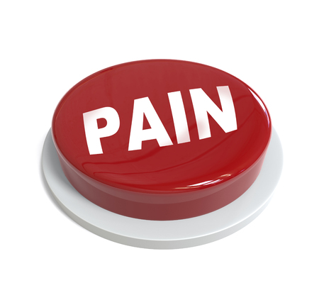 it is isolated: 3d rendering of a red button with pain word  written on it isolated on white background