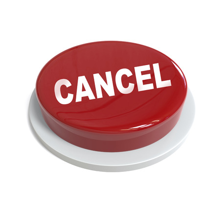 3d rendering of a red button cancel word   written on it isolated on white background
