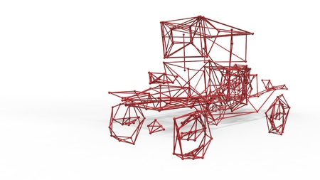 lattice: car polygonal structure and wireframe lattice mesh.  3d render illustration Stock Photo
