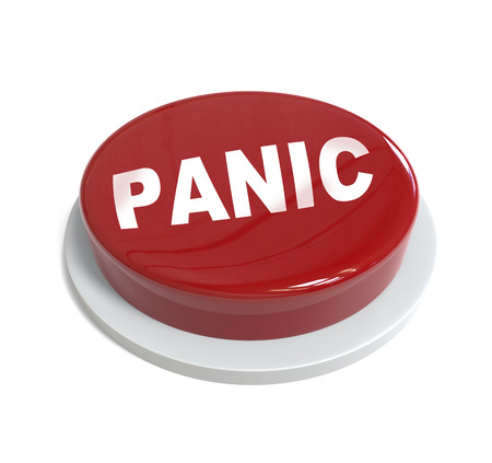 panic: 3d rendering of a red button with panic word  written on it isolated on white background