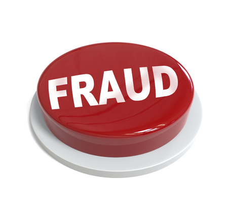 it is isolated: 3d rendering of a red button with fraud word  written on it isolated on white background