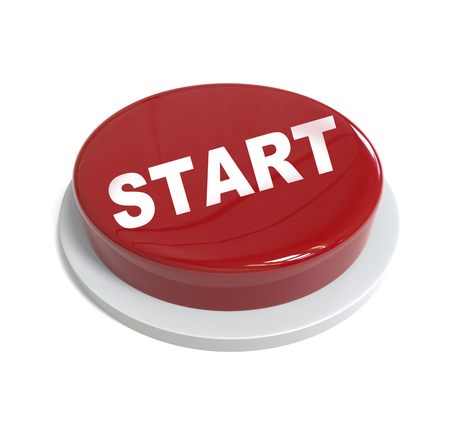 it is isolated: 3d rendering of a red button with easy start  written on it isolated on white background Stock Photo