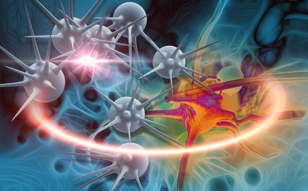 cancer cells: 3d digital illustration of  cancer cells in color background and optical flare Stock Photo