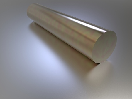 metal pipe: 3d rendering of gold metal pipe on gray background with reflection