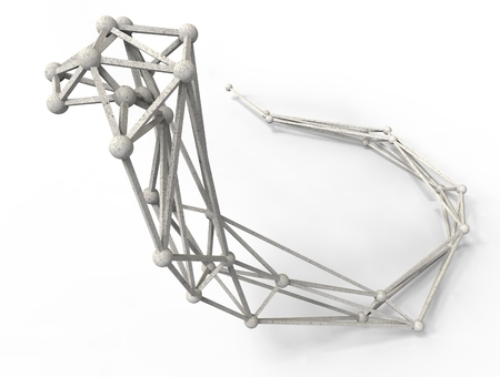 lattice frame: cobra polygonal structure and wire frame lattice mesh.  3d render illustration Stock Photo