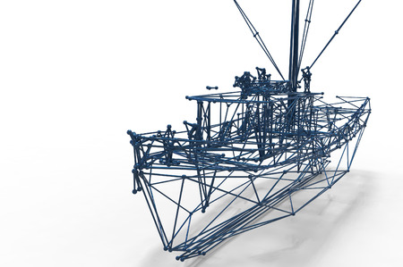 mesh structure: boat polygonal structure and wireframe lattice mesh.  3d render illustration