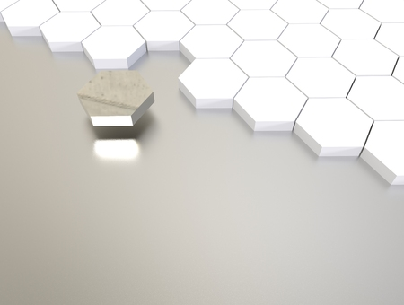 individuality: 3D illustration render.  One individuality silver cube on white background.