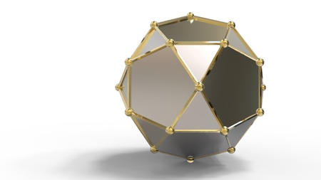 3d render of shiny luxury crystal sapphire hedra  with edges framed with golden wire, isolated on white background