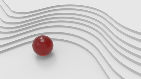 metal ball: White abstract architecture background with curved stairs and red metal ball . 3d illustration