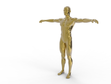 man made: 3D digital render of  man made from gold  isolated on white background