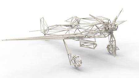 wire frame: 3d render  - wire frame model of airplane with lattice effect  isolated on white background