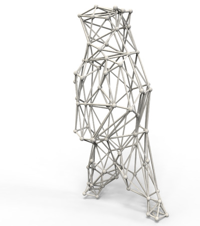lattice frame: bear polygonal structure and wire frame lattice mesh.  3d render illustration