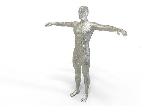 man made: 3D digital render of  man made from silver  isolated on white background Stock Photo