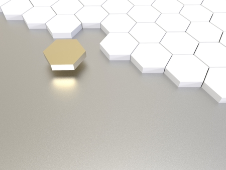 3D illustration render.  One individuality gold  cube on white background. Stock Photo