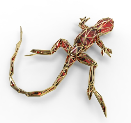 3d render of shiny luxury crystal sapphire lizard with edges framed with golden wire, isolated on white background