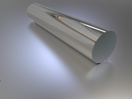 metal pipe: 3d rendering of steel metal pipe on gray background with reflection