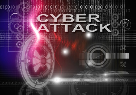 cyber attack: 3d rendering of hi tech infographics of cyber attack