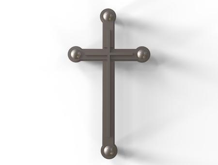 resolution: Modern  silver cross icon high resolution on golden background  - 3d render