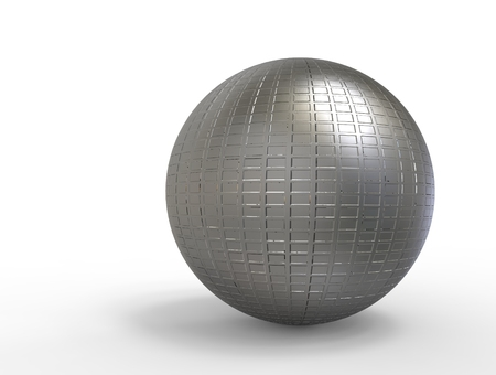 metal sphere: 3D digital render of metal sphere with  reflection isolated over white background