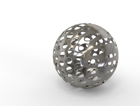 perforation: 3D digital render of metallic chrome sphere with perforation isolated over white background
