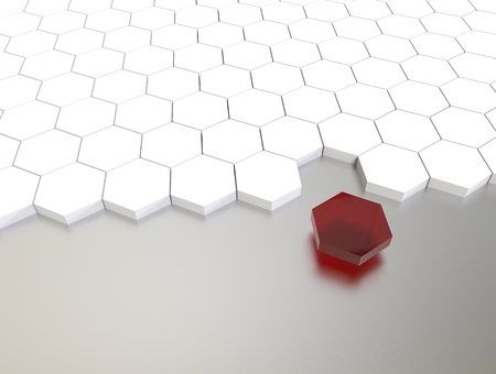 individuality: 3D illustration render.  One individuality red cube on white background. Stock Photo