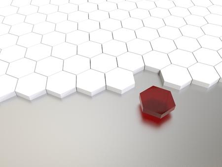 stranger: 3D illustration render.  One individuality red cube on white background. Stock Photo