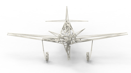 lattice frame: 3d render  - wire frame model of airplane with lattice effect  isolated on white background