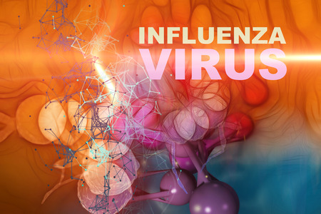 Illustration of Influenza Virus cells - High Quality 3D Render