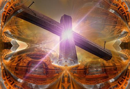 3d rendering - Wooden cross against the futuristic background Stock Photo