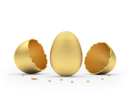 Golden egg hatched from broken golden eggshell isolated on white background. 3d illustration