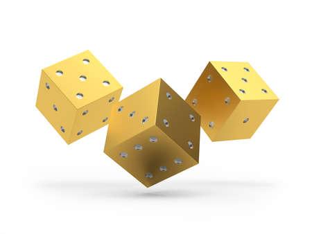 Three gold dice on white. 3d illustration