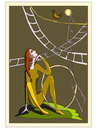 entracte: R�side dans l'acrobate dans le cirque entracte Illustration