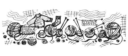 hand drawn, cartoon, sketch illustration of knitting wool threads