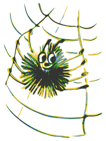 springe: hand drawn, cartoon, sketch illustration of spider on a web