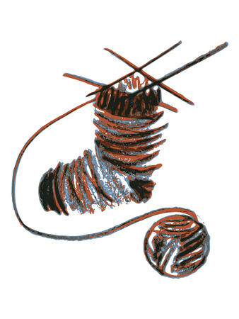 hand drawn, cartoon, sketch illustration of knitting sock