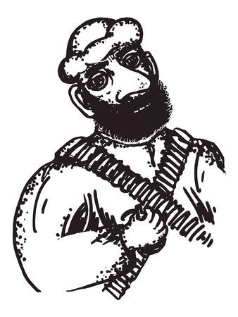 militant: hand drawn, cartoon, sketch illustration of arab soldier Illustration