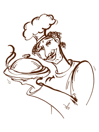 domed tray: hand drawn, cartoon, sketch illustration of cook