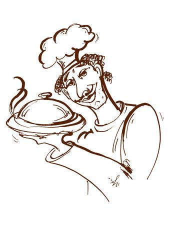 hand drawn, cartoon, sketch illustration of cook