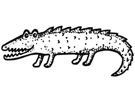 hand drawn, cartoon, sketch illustration of crocodile Vector