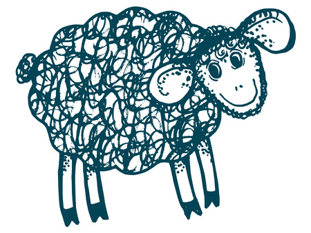 baa: hand drawn, cartoon, sketch illustration of lamb