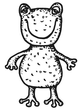 webbed: hand drawn, cartoon, sketch illustration of frogling