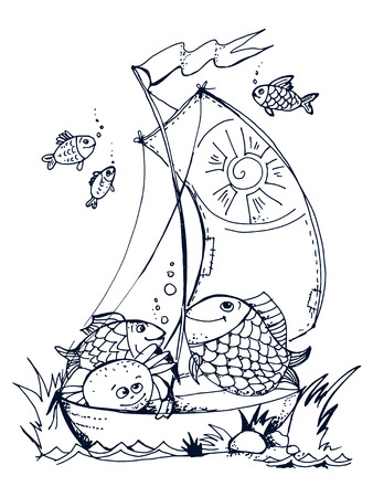 hand drawn, cartoon, sketch illustration of cute fishes