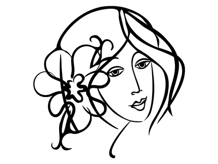 hand drawn, cartoon, sketch illustration of Simply beauty girl Иллюстрация