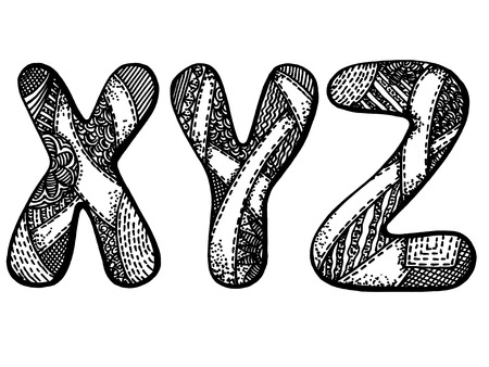 y shaped:  Vector graphic, artistic, stylized image of letters of the alphabet