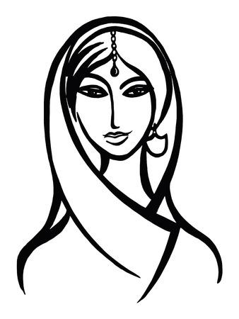 hand drawn, cartoon, sketch illustration of squaw