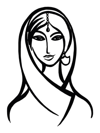 hand drawn, cartoon, sketch illustration of indian woman Illustration
